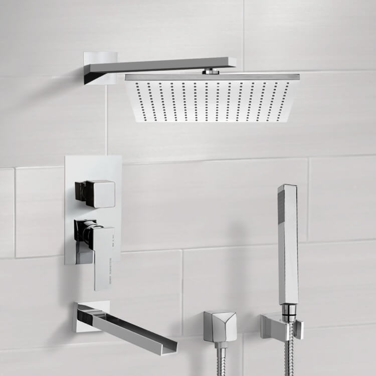 Tub and Shower Faucet, Remer TSH4516, Tub and Shower System with 12