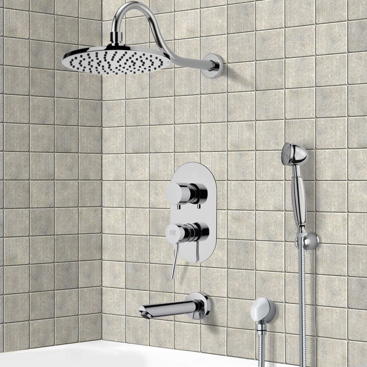 Tub and Shower Faucet, Remer TSH4534, Tub and Shower System with 8