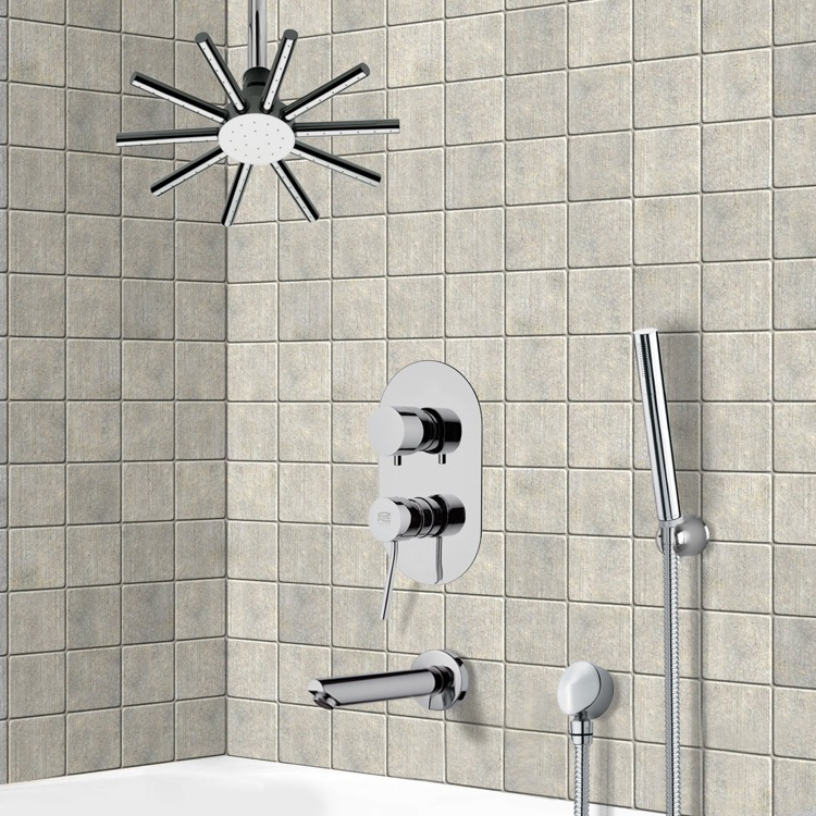 Tub and Shower Faucet, Remer TSH4540, Tub and Shower System with Ceiling Shower Head and Hand Shower