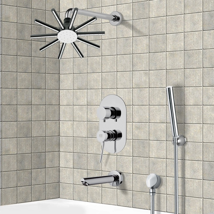 Tub and Shower Faucet, Remer TSH4548, Tub and Shower System with 10