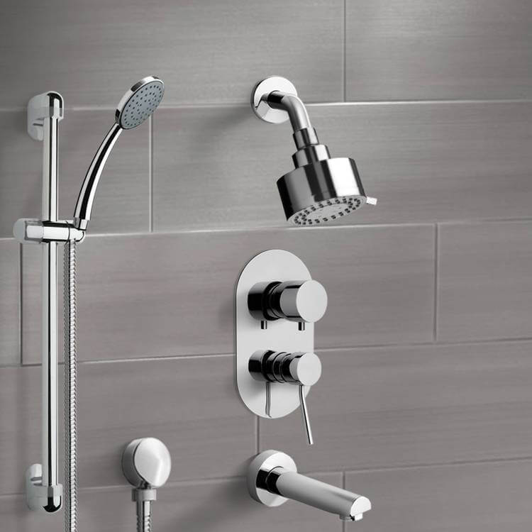 Tub and Shower Faucet, Remer TSR06, Chrome Tub and Shower System with Multi Function Shower Head and Hand Shower