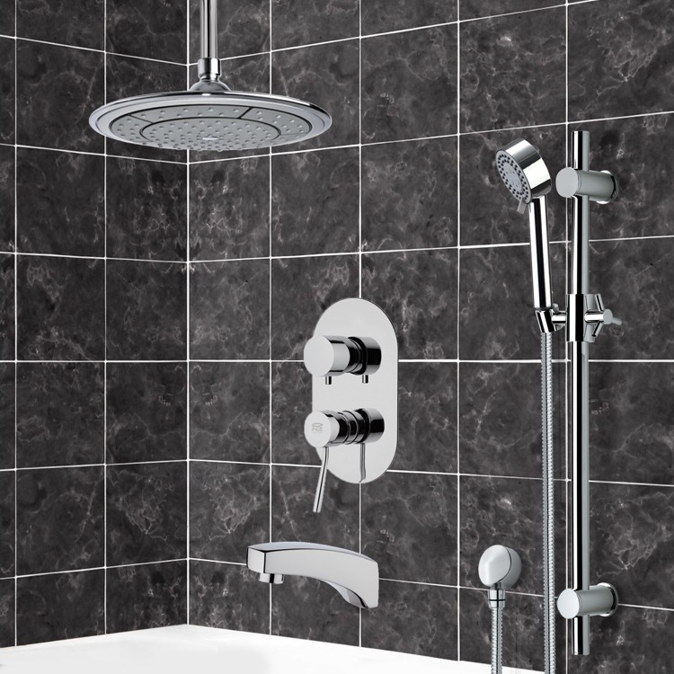 Tub and Shower Faucet, Remer TSR9002, Chrome Tub and Shower System with 9