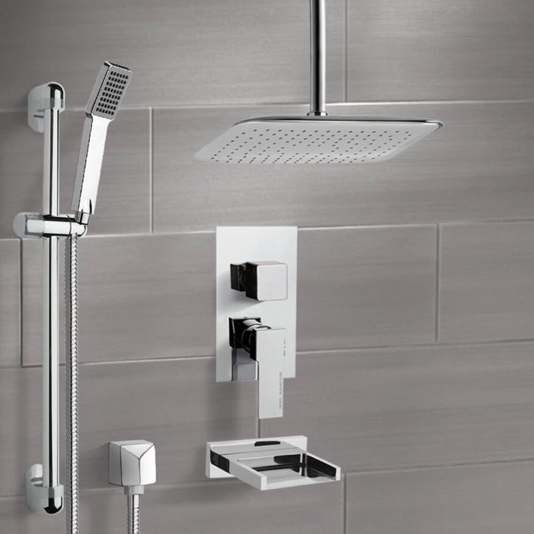 Tub and Shower Faucet, Remer TSR9019, Chrome Tub and Shower System with Ceiling 14