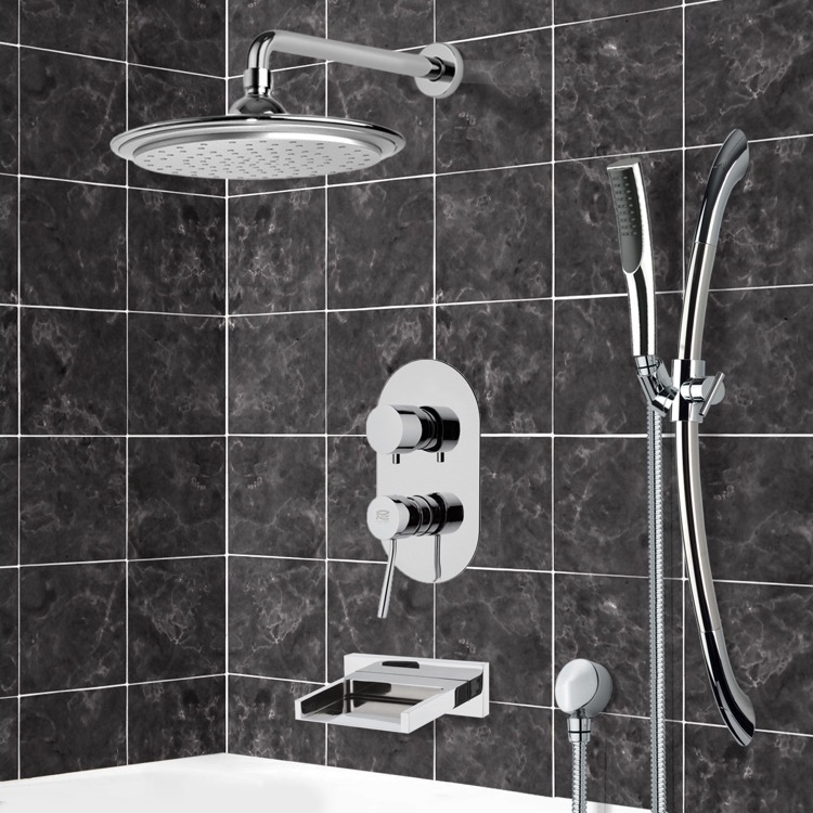 Tub and Shower Faucet, Remer TSR9043, Chrome Tub and Shower System with 9