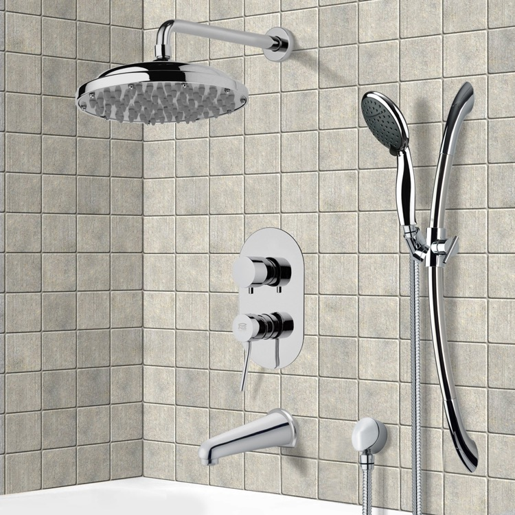 Tub and Shower Faucet, Remer TSR9052, Chrome Tub and Shower System with 9
