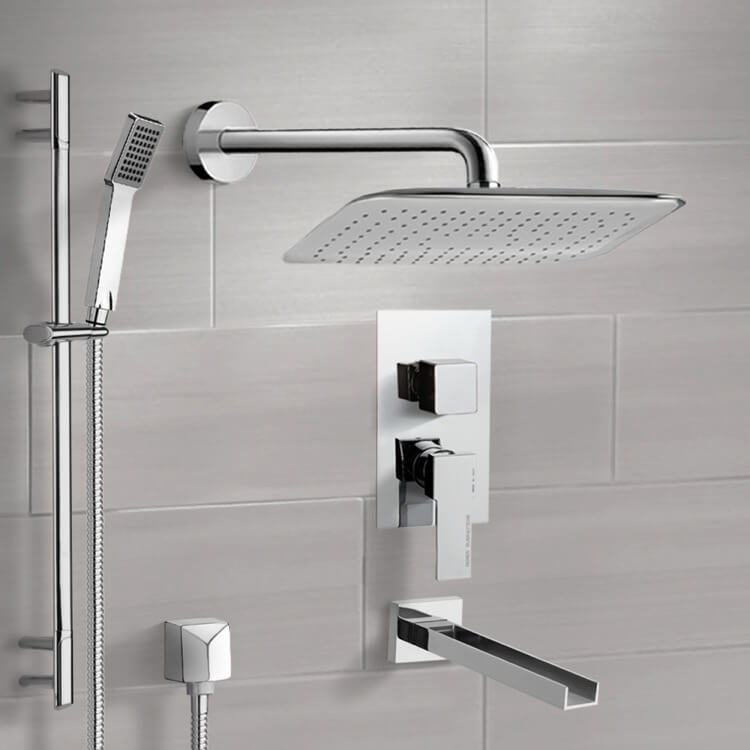 Tub and Shower Faucet, Remer TSR9056, Chrome Tub and Shower System with 14