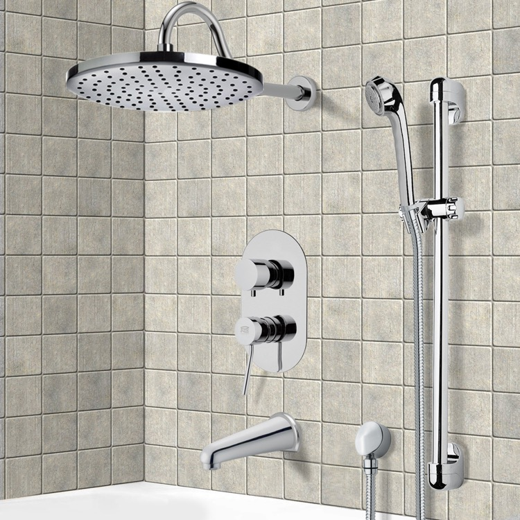 Tub and Shower Faucet, Remer TSR9079, Chrome Tub and Shower System with 8