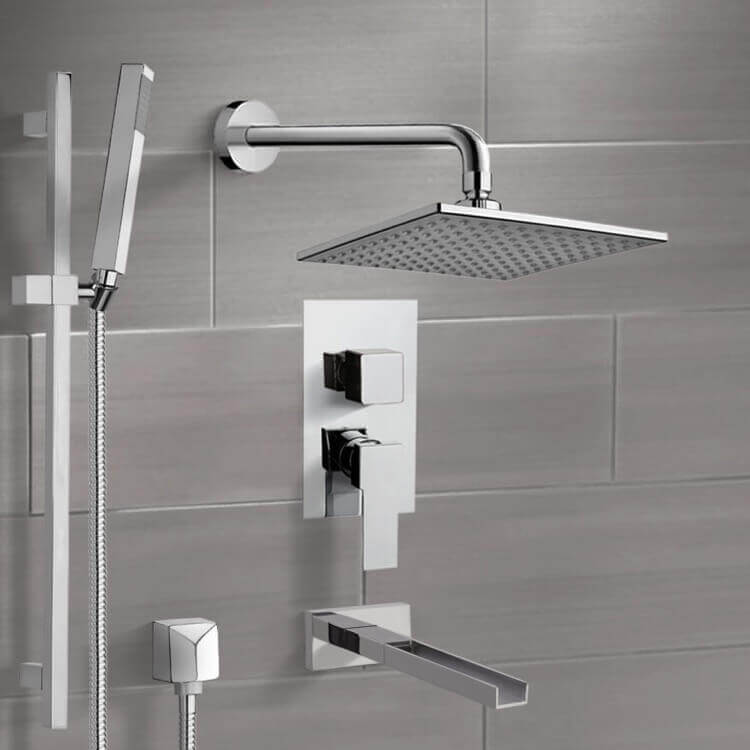 Tub and Shower Faucet, Remer TSR9110, Chrome Tub and Shower System with 8