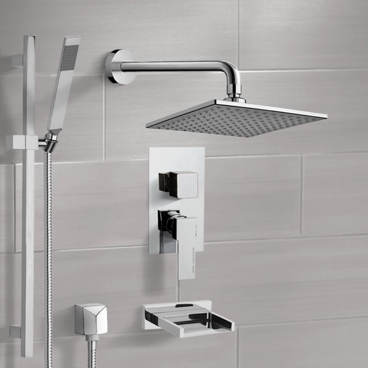 Tub and Shower Faucet, Remer TSR9112, Chrome Tub and Shower System with 8