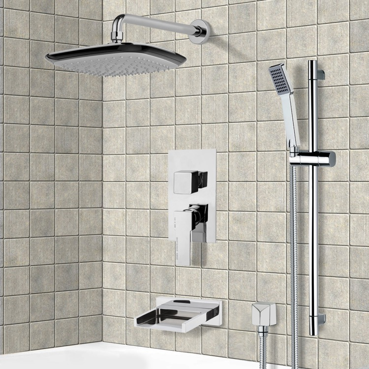 Tub and Shower Faucet, Remer TSR9116, Chrome Tub and Shower System with 9