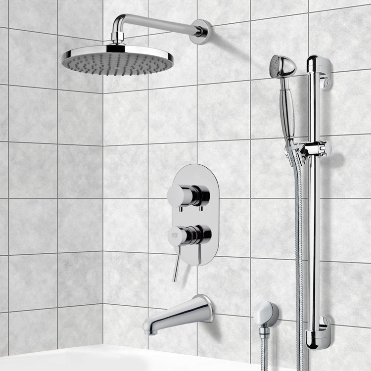 Tub and Shower Faucet, Remer TSR9141, Chrome Tub and Shower System with 8