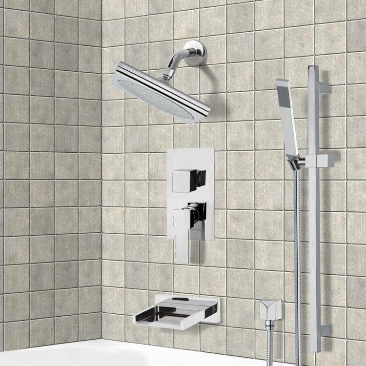 Tub and Shower Faucet, Remer TSR9193, Chrome Tub and Shower System with 9