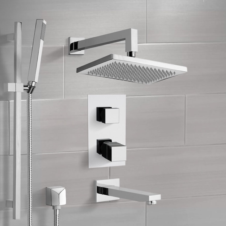 Tub and Shower Faucet, Remer TSR9402, Chrome Thermostatic Tub and Shower System with 9.5