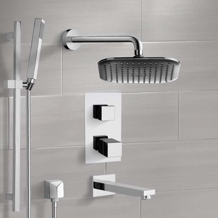 Tub and Shower Faucet, Remer TSR9404, Chrome Thermostatic Tub and Shower System with 8