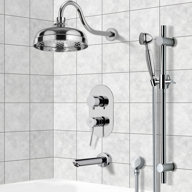 Tub and Shower Faucet, Remer TSR9525, Tub and Shower System with 8