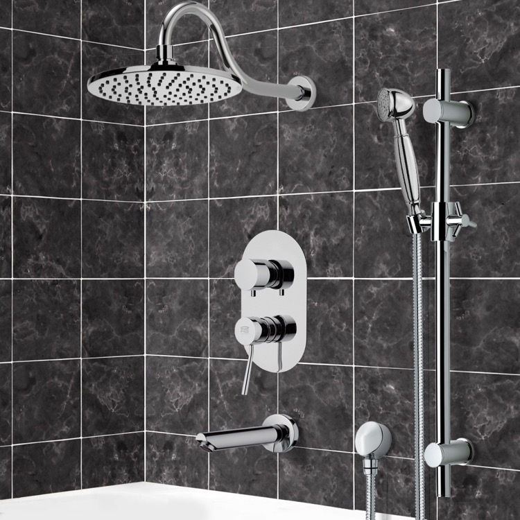 Tub and Shower Faucet, Remer TSR9534, Tub and Shower System with 8