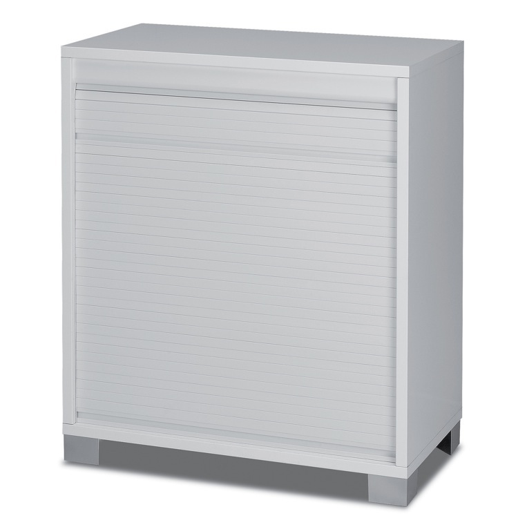 Cabinet, Sarmog 7046, Modern White Small Cabinet with Rolling Shutter