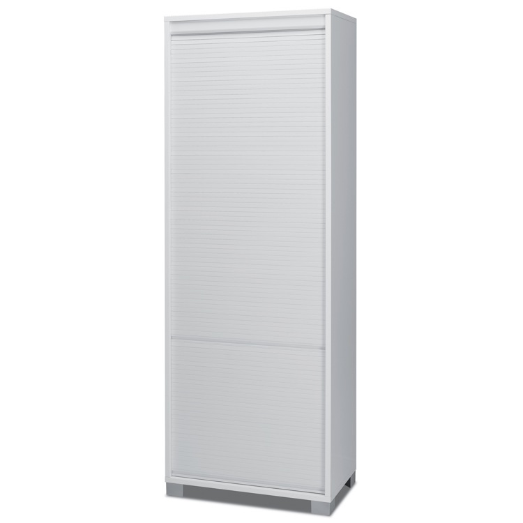 Cabinet, Sarmog 7054, Contemporary White Wood High Cabinet with Rolling Shutter