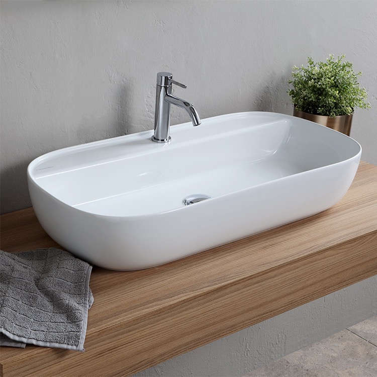 Bathroom Sink, Scarabeo 1801, Oval White Ceramic Vessel Sink