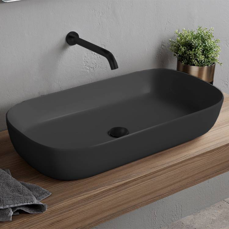 Bathroom Sink, Scarabeo 1803-49, Oval Matte Black Trough Vessel Sink in Ceramic