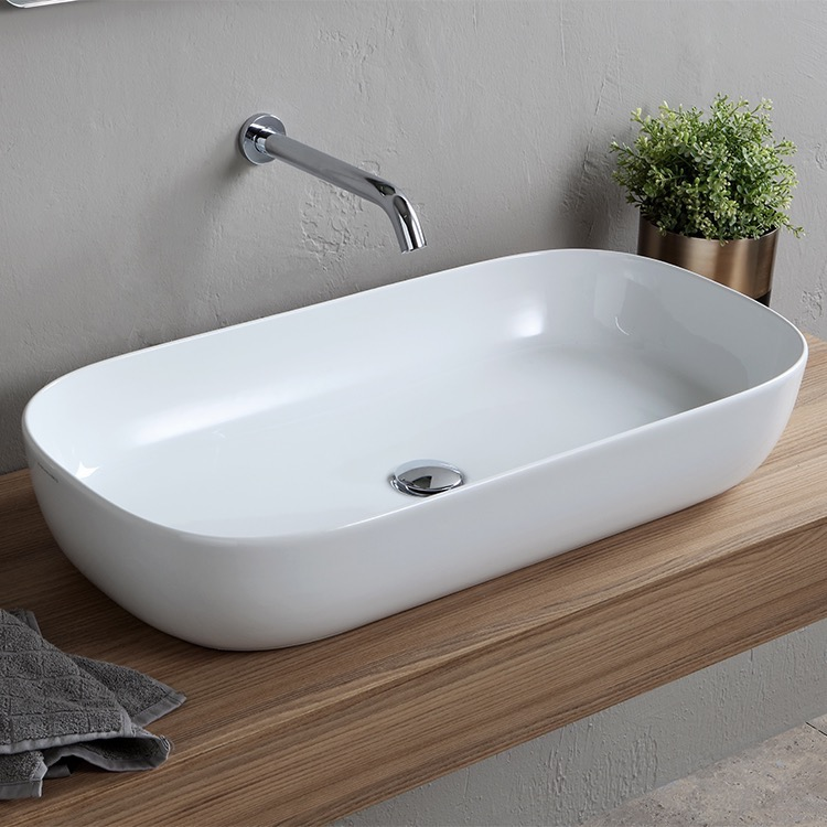 Bathroom Sink, Scarabeo 1803, Oval White Ceramic Trough Vessel Sink