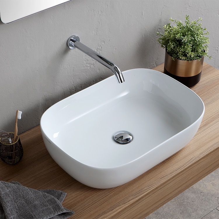 Bathroom Sink, Scarabeo 1804, Oval White Ceramic Vessel Sink