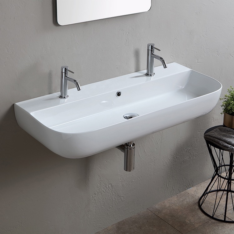 Bathroom Sink, Scarabeo 1813B, Modern White Ceramic Wall Mounted or Vessel Sink