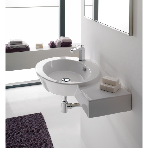 Bathroom Sink, Scarabeo 2011, Ceramic Wall Mounted or Vessel Bathroom Sink with Right Counter Space