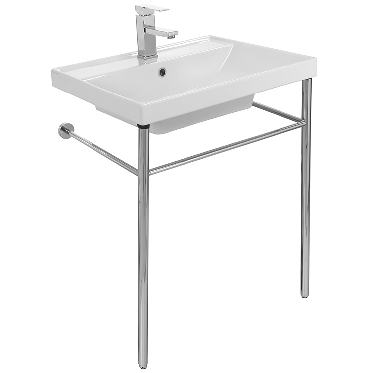 Bathroom Sink, Scarabeo 3004-CON, Rectangular Ceramic Console Sink and Polished Chrome Stand