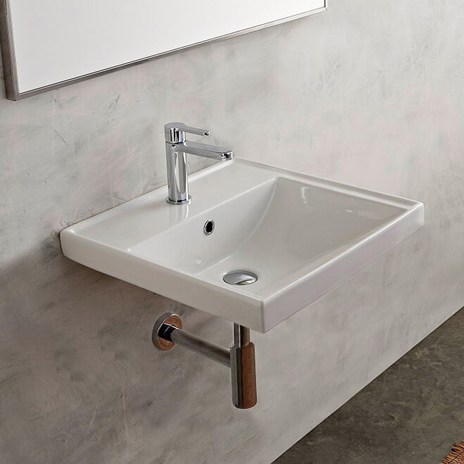 Bathroom Sink, Scarabeo 3004, Rectangular White Ceramic Wall Mounted or Drop In Bathroom Sink