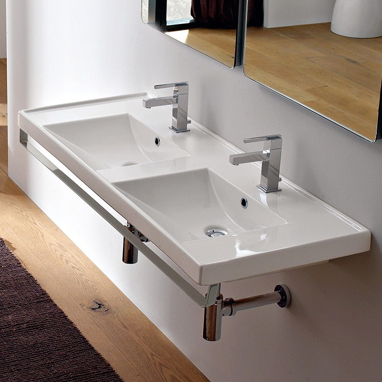 Bathroom Sink, Scarabeo 3006-TB, Double Basin Wall Mounted Ceramic Sink With Polished Chrome Towel Bar