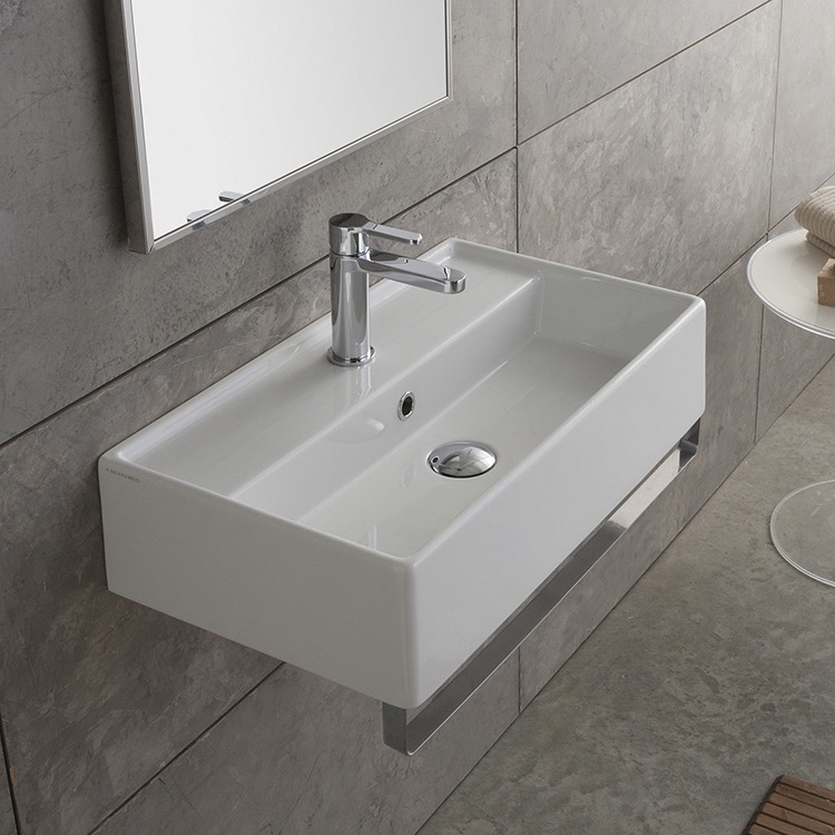 Bathroom Sink Scarabeo 5002 Tb Rectangular Wall Mounted Ceramic With Polished Chrome