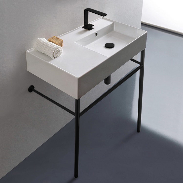 Bathroom Sink, Scarabeo 5118-CON-BLK, Ceramic Console Sink and Matte Black Stand