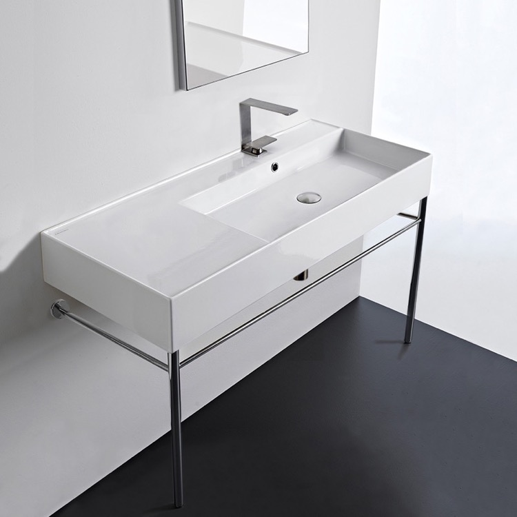 Bathroom Sink, Scarabeo 5120-CON, Rectangular Ceramic Console Sink and Polished Chrome Stand