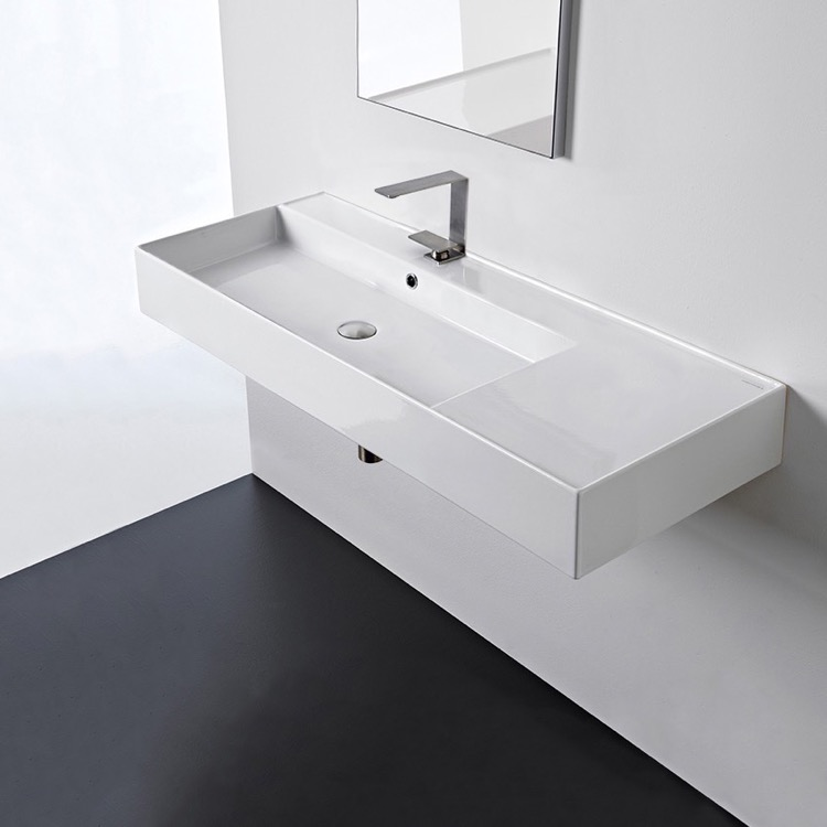 Bathroom Sink, Scarabeo 5121, Rectangular Ceramic Wall Mounted or Vessel Sink With Counter Space