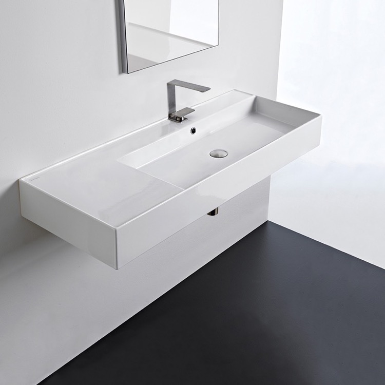 Bathroom Sink, Scarabeo 5122, Rectangular Ceramic Wall Mounted or Vessel Sink With Counter Space