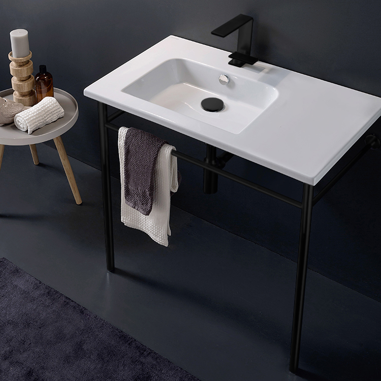 Bathroom Sink, Scarabeo 5211-CON-BLK, Ceramic Console Sink and Matte Black Stand