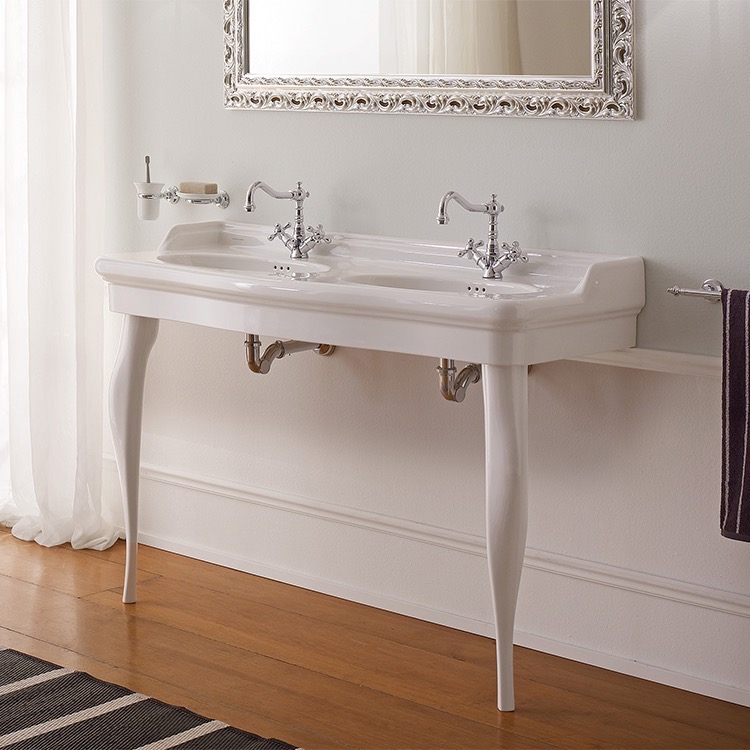 Bathroom Sink, Scarabeo 5303-CON, Double Basin Ceramic Console Sink and Ceramic Legs