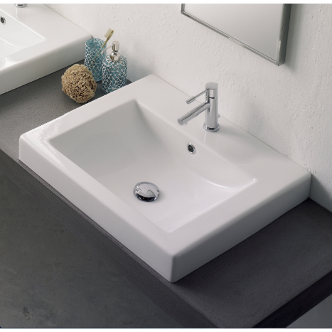 Bathroom Sink, Scarabeo 8007/A, Square White Ceramic Drop In Sink