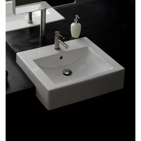 24 inch bathroom sink. Bathroom Sink  Scarabeo 8007 D 24 Inch Square Ceramic Semi Recessed Nameek s