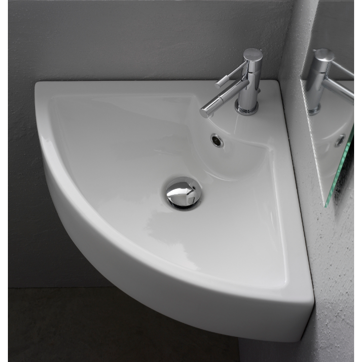 Bathroom Sink Scarabeo 8007 E Square White Ceramic Wall Mounted Or Vessel Corner