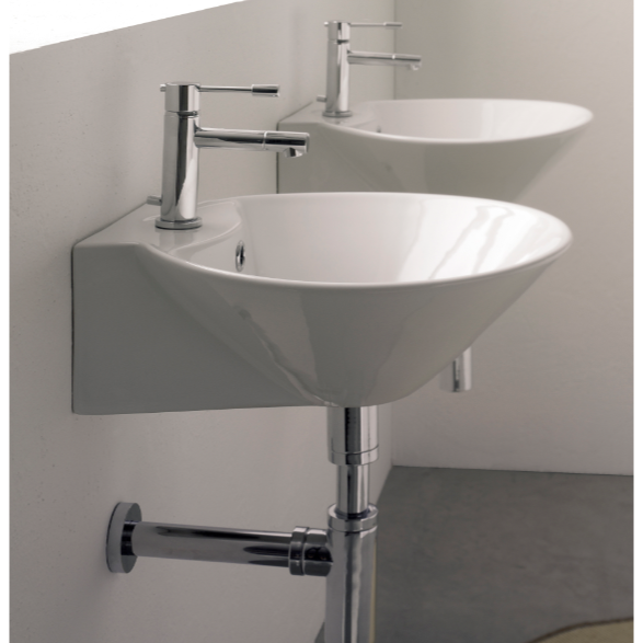 Bathroom Sink, Scarabeo 8010/R, Round White Ceramic Wall Mounted or Vessel Sink