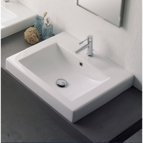 Bathroom Sink Scarabeo 8025 A Square White Ceramic Drop In