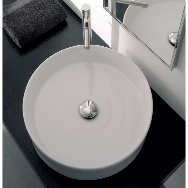 Bathroom Sink, Scarabeo 8029, Round White Ceramic Vessel Sink