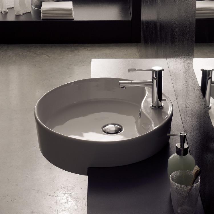 Bathroom Sink Scarabeo 8029 D Round White Ceramic Semi Recessed