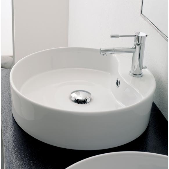 Bon Bathroom Sink, Scarabeo 8029/R, Round White Ceramic Vessel Sink