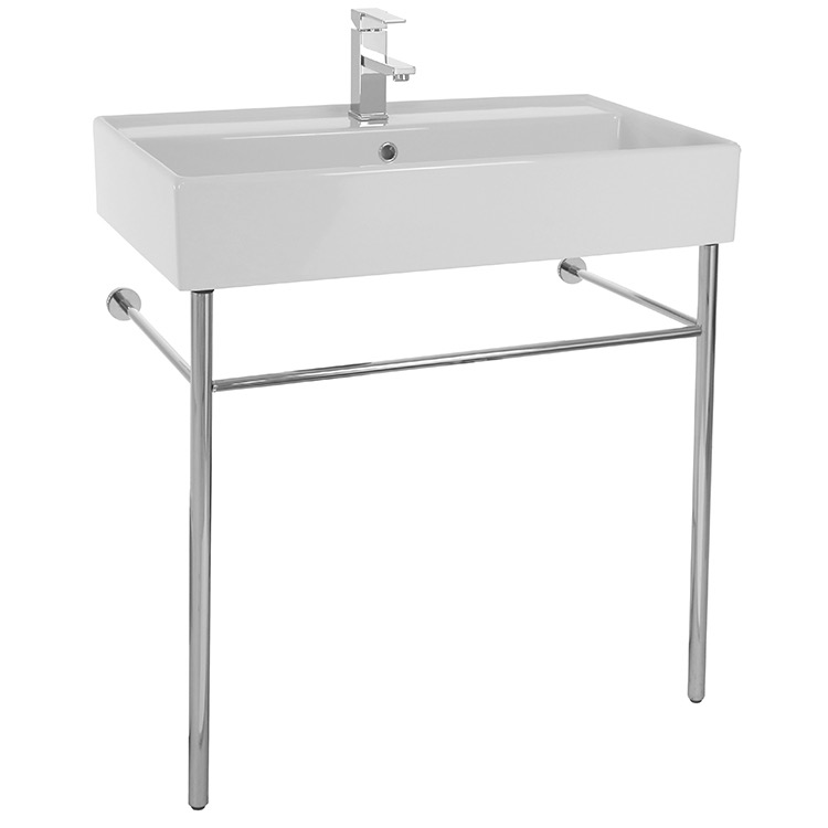 Bathroom Sink, Scarabeo 8031/R-80-CON, Rectangular Ceramic Console Sink and Polished Chrome Stand