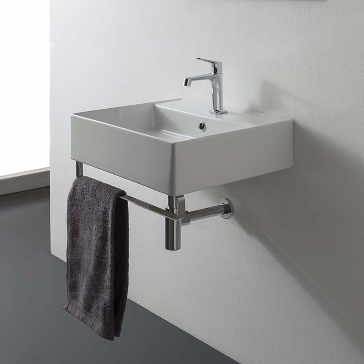 With Polished Chrome Towel Bar Bathroom Sink Scarabeo 8031 R 40 Tb Square Wall Mounted Ceramic