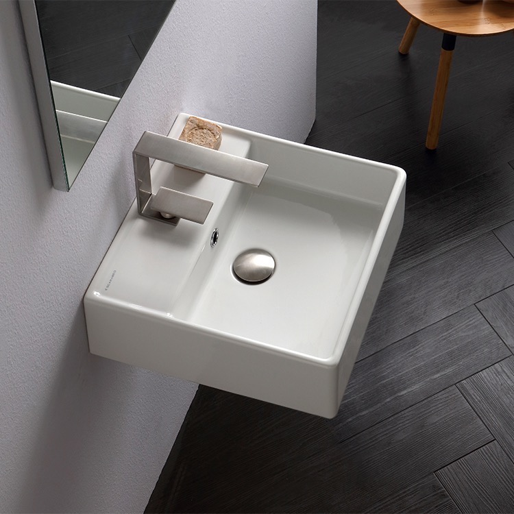 Bathroom Sink, Scarabeo 8031/R-40, Square White Ceramic Wall Mounted or Vessel Sink