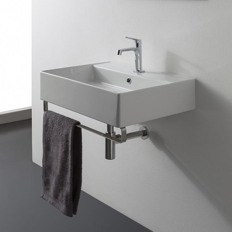 Bathroom Sink Scarabeo 8031 R 60 Tb Rectangular Wall Mounted Ceramic